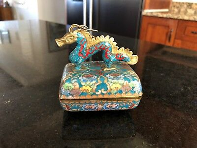 Antique Asian Chinese Cloisonne Dragon Case/music Trinket Box