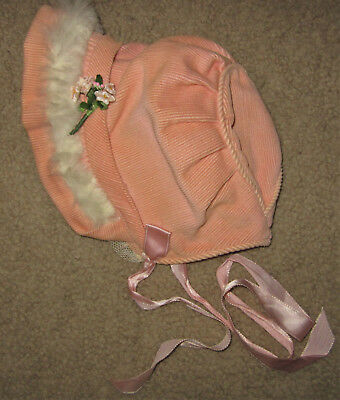 VTG Baby Bonnet Peach Corduroy White Fur Trim Floral Lace Accent Hat Satin Lined