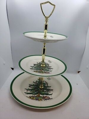 Spode Christmas Tree Triple Tier Tray Serving Holiday Platter In Original Box