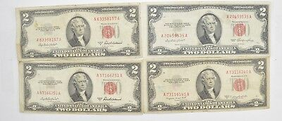 Lot (4) Red Seal $2.00 US 1953 or 1963 Notes - Currency Collection *531