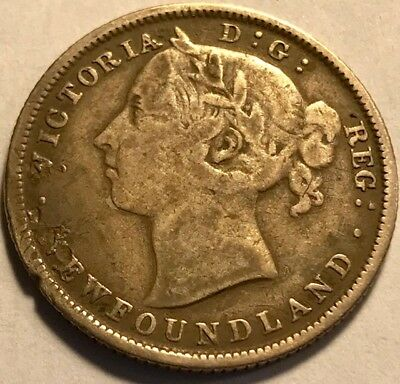 NEWFOUNDLAND Queen Victoria - Silver 20 Cents  1882H - KM-4 - VF Details - Bent