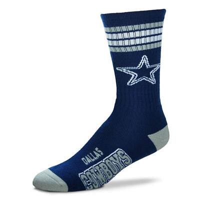 Dallas Cowboys Adult 4 Stripe Deuce Team Color Socks-1pair-Large New Free S/H
