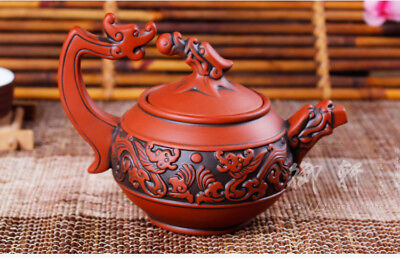 Distinctive Chinese Red Purple Sand Hand Carved Painting Dragon Teapot