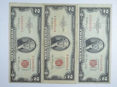 Lot (3) Red Seal $2.00 US 1953 or 1963 Notes - Currency Collection *069
