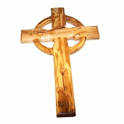 Celtic Holy Land Handmade Wall Olive Wood Catholic Cross - 10 Inches