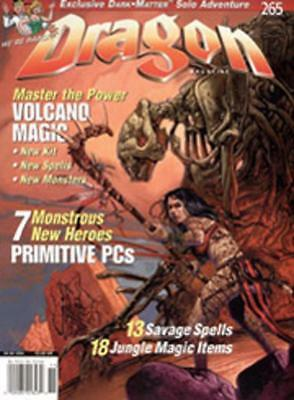 """TSR Dragon Magaz #265 """"7 Monstrous New Heroes, Master the Power of Volc Mag EX-"""