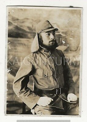 Original Wwii Japanese Photo: Army Soldier, Havelock Cap, Excellent!!