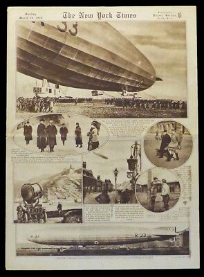 British Dirigible R-33 Worlds Largest Airship 1919 New York Times