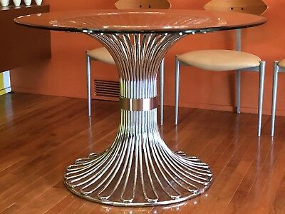 Vintage Mid Century Modern Gastone Rinaldi Chrome Glass Dining Table