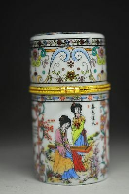 Exquisite Chinese Porcelain Hand Drawing Ancient Beauty Toothpick Box