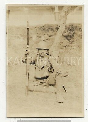 Original Wwii Japanese Photo: Army Soldier, Helmet, Rifle!!