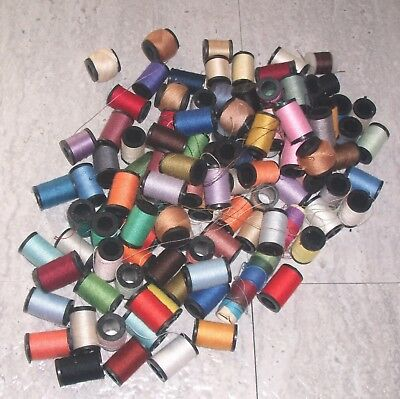 "Lot of vintage Sewing Thread Mini small 3/4"" Wooden Spools Assorted Colors"