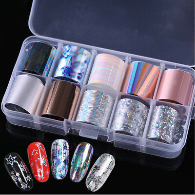 10 Rolls/Box Rose Gold Shell Nail Foil Snowflake Holographic  Stickers