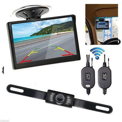"5"" TFT LCD Car Rear View Backup Monitor+Wireless Parking Night Vision Camera Kit"