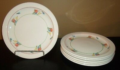 "(6) Midwinter CROCUS 10 1/2"" Dinner Plates  England"