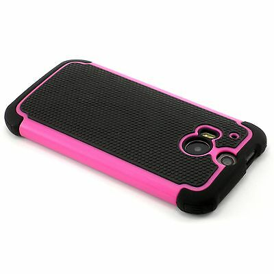 New Hot Pink Heavy Duty Protection Case For HTC One M8