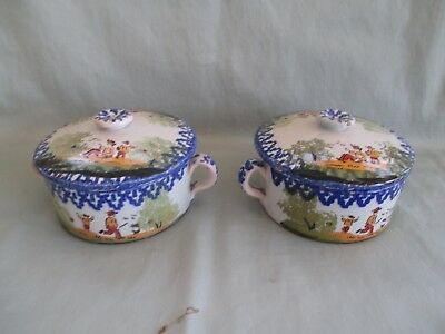 """Pair of Antique French Quimper  2 Handled Covered Soup Bowls Hand Painted 4"""" dia"""