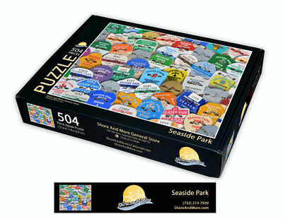 "Seaside Park, New Jersey Season Beach Badge Puzzle 504 Piece Puzzle 16"" x 20"""
