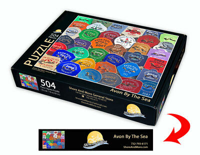 "Avon by the Sea, New Jersey Season Beach Badge Puzzle 504 Piece Puzzle 16"" x 20"""