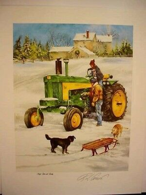 "JOHN DEERE 730 TRACTOR ART PRINT - ""SLEIGH RIDE with DADDY"" by CROUSE - OPEN ED"