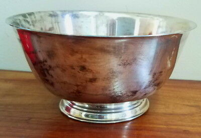 """Vintage 6"""" small silverplate Paul Revere reproduction footed bowl, Wm A Rogers"""