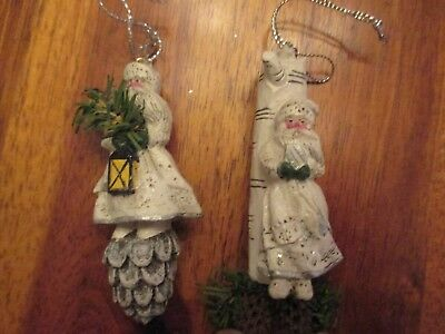 P. Schifferl ~ 2 Midwest White Santa Pinecones Christmas Ornament Figures Pam