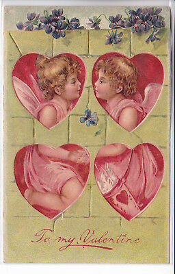 Valentines Embossed Postcard 1909 Boy and Girl in Hearts