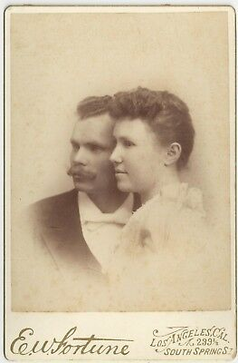 Lovely Man & Woman Cabinet Card Photograph E.W. Fortune Los Angeles California