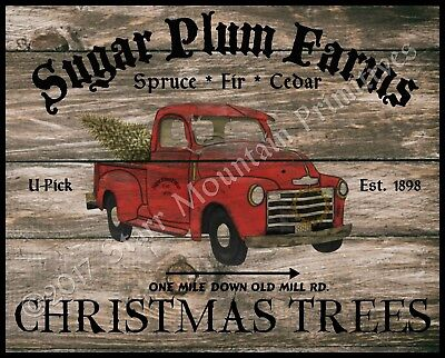 Primitive Farmhouse Vintage PRINT 8x10 Snowy Pines Christmas Tree Farm Red Wagon
