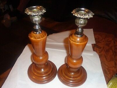 Pair Of Chrome Topped Turned  Baluster Wooden Candlesticks.