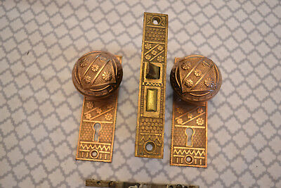 Antique Vintage Solid Brass Door Knobs Lockset AND Face Plates #29   * REDUCED *
