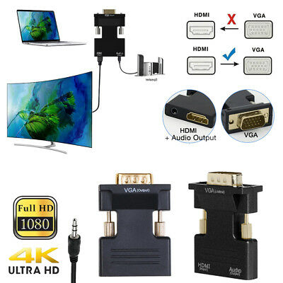 HDMI Female to VGA Male Converter+Audio Adapter Support 1080P Signal OutputAA