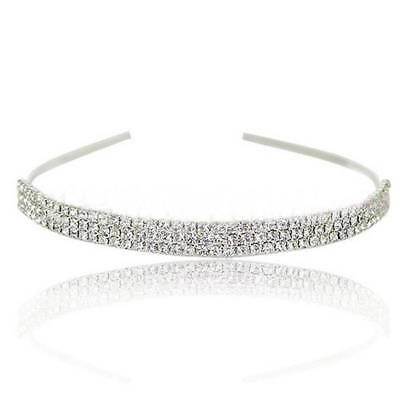 Fashion Bridal Bridesmaid 3-Row Crystal Diamante Headband Wedding Tiara Jewelry