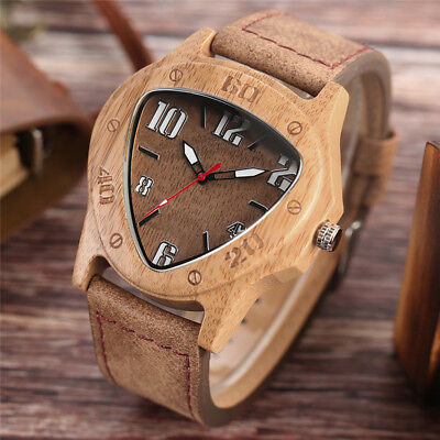 Men's Real Natural Bamboo Wood Wooden Watch Unique Leather Quartz Wrist Watches