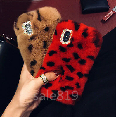 Luxury Cute Warm fuzzy Rabbit fur Hair Bling Soft TPU Case Cover For Cell Phones