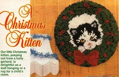A CHRISTMAS KITTEN pattern from magazine - 18ins rug for floor or wall hanging