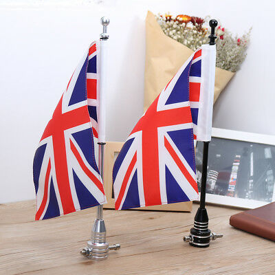 Motorcycle Rear Luggage Rack UK Union Jack Flag Pole & Stripes Mount For Harley