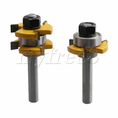 2 PCS 8mm Shank Tongue and Groove 3 Teeth Adjustable T-shape Router Bit Set