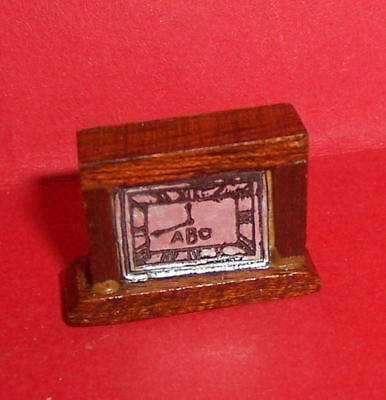 Vintage Dolls House Early Barton Wooden Art Deco Mantle Clock Lundby Scale