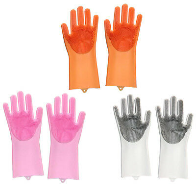 Magic Silicone Rubber Gloves Washing Cleaning Brush Scrubber Gloves Kitchen Tool
