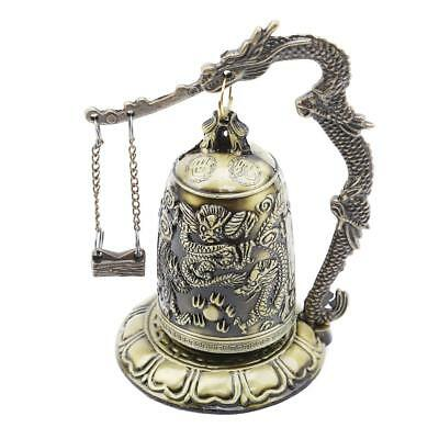 Chinese Dragon Carved Buddhist Bell Zinc Alloy Vintage Home Good Luck Decor LC