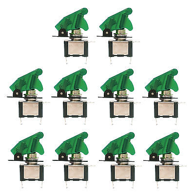10 pcs Green LED Missile Toggle Flick Switch DC 12V 20A ON/OFF Car Boat US Stock