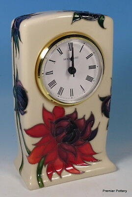 "MOORCROFT Ruby Red 6"" Mantel Desk Clock Emma Bossons RRP £250 To Clear"