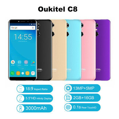 """Oukitel C8 5.5"""" Smartphone Android 7.0 Quad Core 16GB Dual SIM Touch ID Unlocked"""