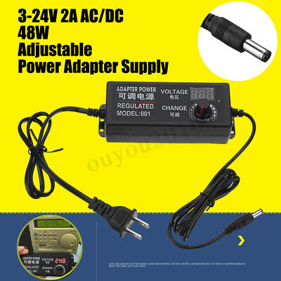 3-24V 48W Adjustable Power Adapter Speed Control Volt AC/DC Supply Display  US