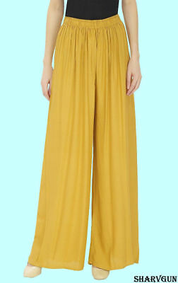 Indian Ethnic Stylewhile Readymade Rayon Full Length Palazzo for Women, Yellow