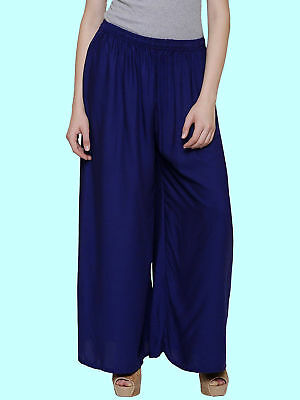 Indian Ethnic Stylewhile Readymade Rayon Full Length Palazzo for Women, Navyblue