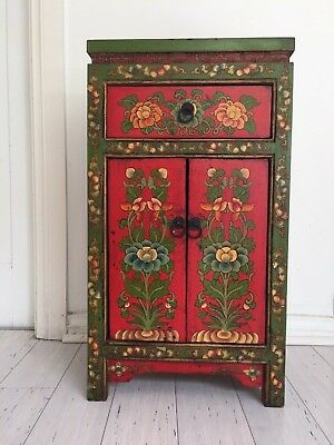 Beautiful painted oriental wood cabinet antique style
