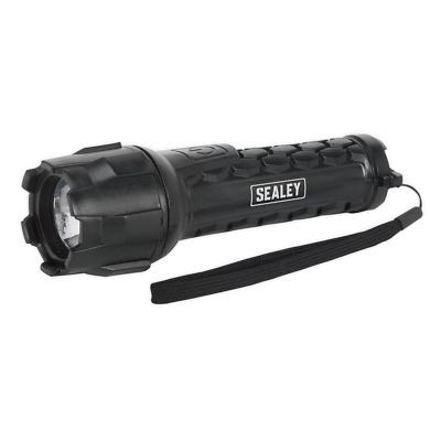 Sealey LED050 Rubber Waterproof Torch 1W CREE LED 2 x AA Cell