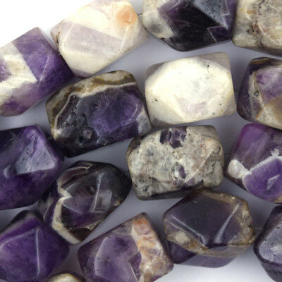 """13x20mm faceted natural amethyst nugget beads 15.5"""" strand S1"""